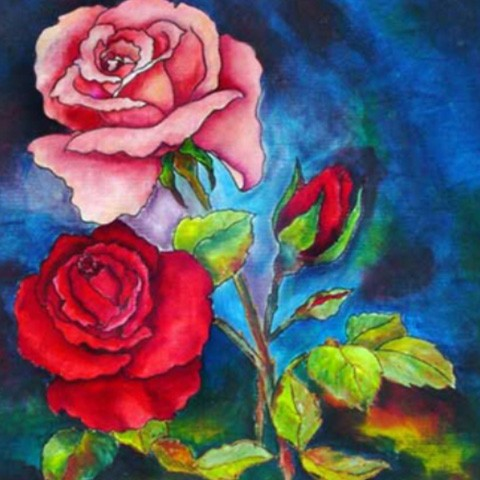 Fabric Painting Designs Roses