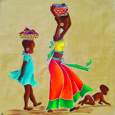 Fabric Painting Designs Ethnic Family