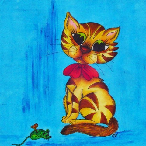 Fabric Painting Designs Cat & Mouse