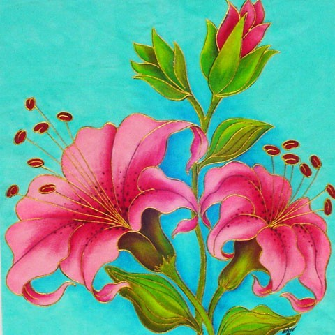 Fabric Painting Designs Lilies