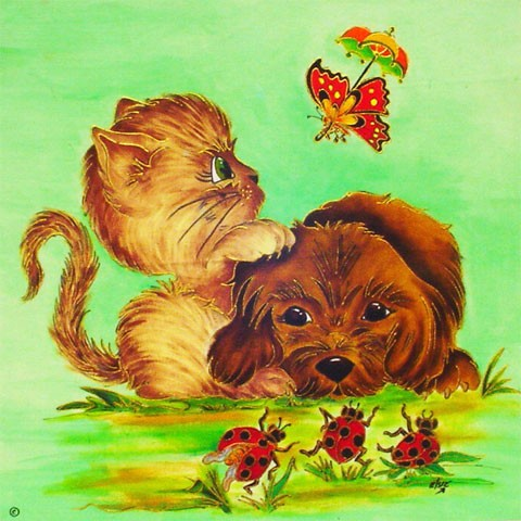 Fabric Painting Designs Cat & Dog