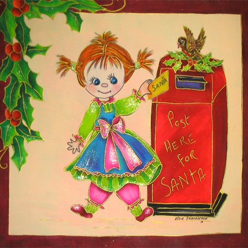 Fabric Painting Designs Letter for Santa