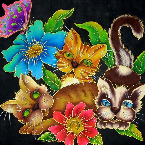 Fabric Painting Designs Kittens
