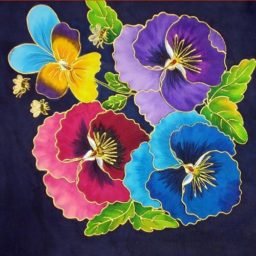 Fabric Painting Designs Pansies