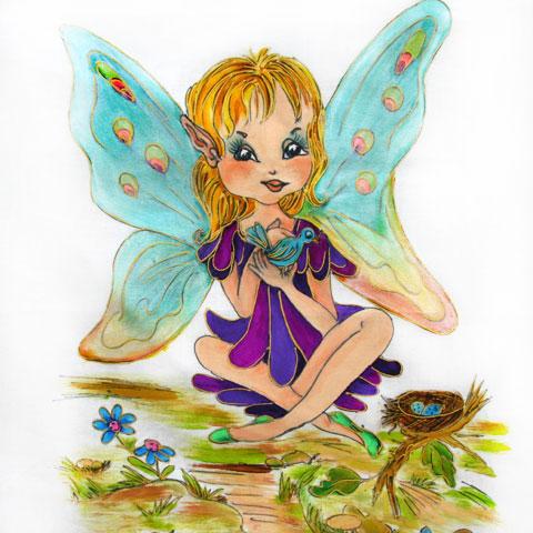 Fabric Painting Designs Bird Fairy
