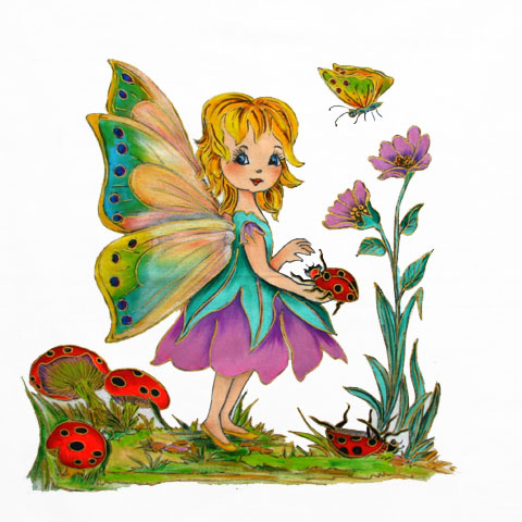 Fabric Painting Designs Ladybird Fairy