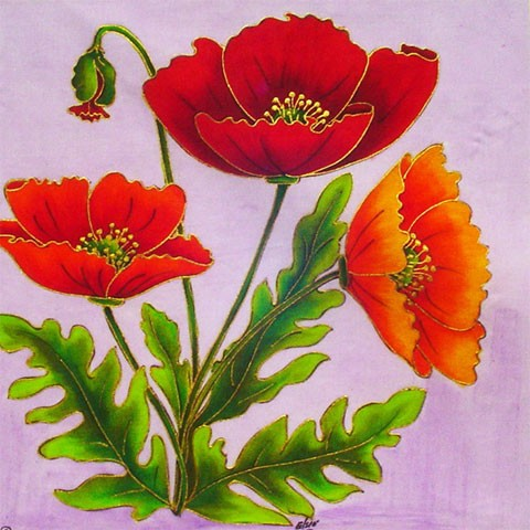 Fabric Painting Designs Poppies